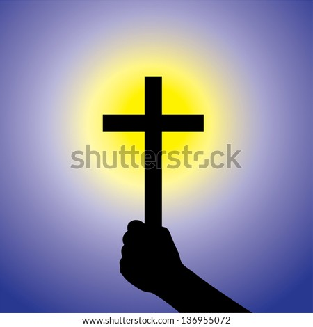 Person showing faith in lord by holding holy cross. This illustration is a concept of a devout faithful christian worshiping Jesus Christ with blue background and yellow sun