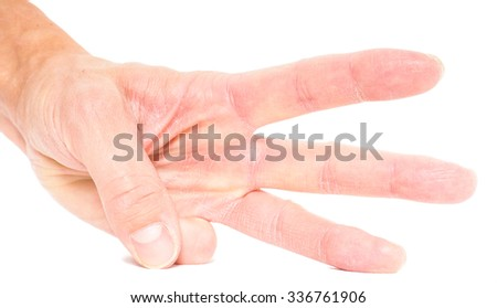 Person showing three fingers isolated on white - stock photo