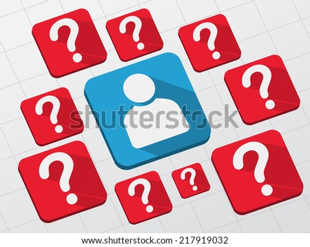 person sign with question marks - white symbols in blue and red flat design blocks, business creative concept - stock photo