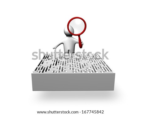 person solving problem, searching answers, making research, question, answers, problem concept illustration with maze isolated - stock photo