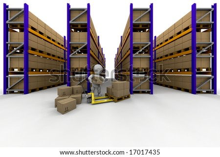 Person stacking boxes in warehouse full of racking - stock photo
