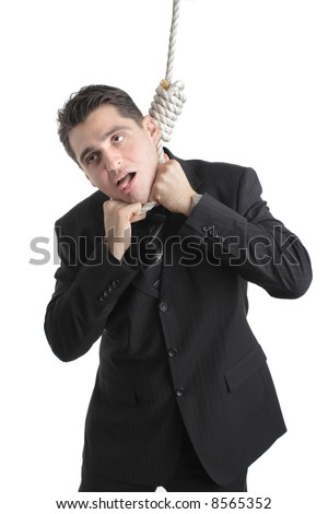 Person suffocating from being hanged - stock photo