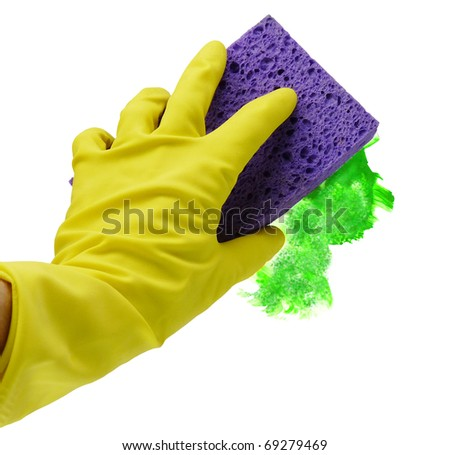 Person wearing a yellow rubber glove 'green washing' with a purple sponge, isolated with a clipping path on white background