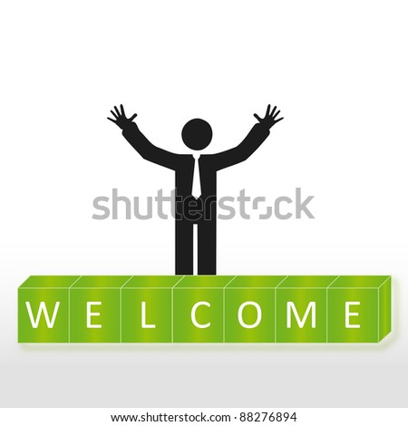 Person welcome new members group, abstract background - stock photo