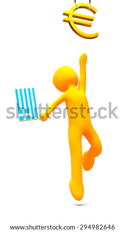 Person with a Greek flag reaching for a golden Euro symbol hanged by German flag colors painted ropes. Illustration of 4320x7680 resolution. Viewpoint on the Greece versus euro or Germany dispute. - stock photo