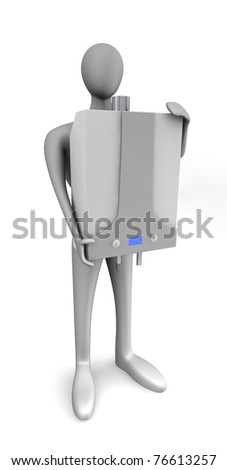 Person with gas boiler isolated over white - stock photo