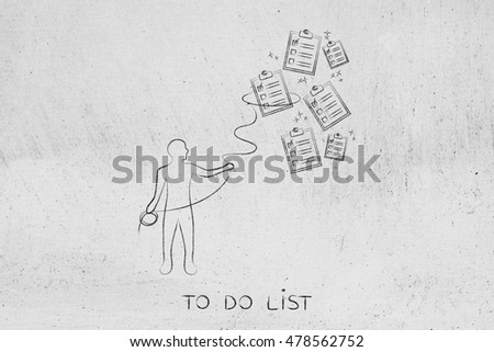 person with lasso catching falling to-do lists, concept of time and task management