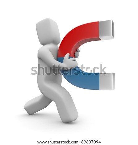 Person with magnet. Image contain clipping path - stock photo