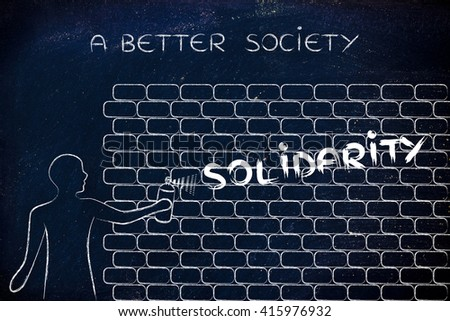 Person spray paint writing word solidarity stock illustration person with spray paint writing the word solidarity as wall graffiti a better society ccuart Image collections