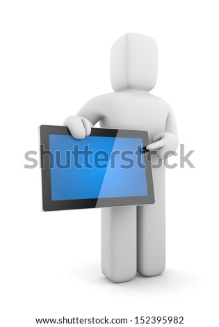 Person with tablet computer