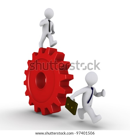 Person with tie on a cogwheel is chasing businessman