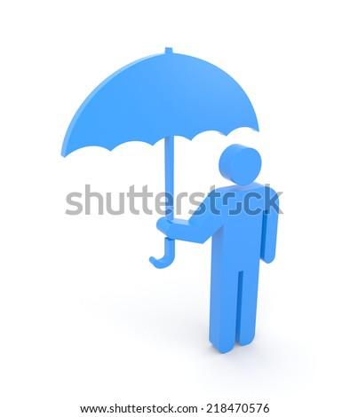 Person with umbrella - stock photo