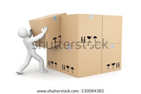 Person work with boxes - stock photo
