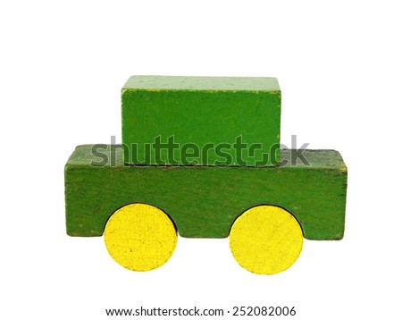 Personal auto of wooden blocks, traditional toy on white background - stock photo