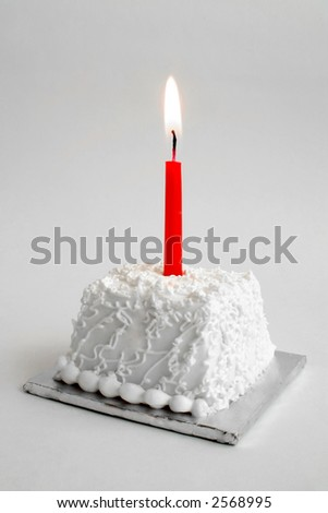 Personal Birthday cake with a red candle - stock photo