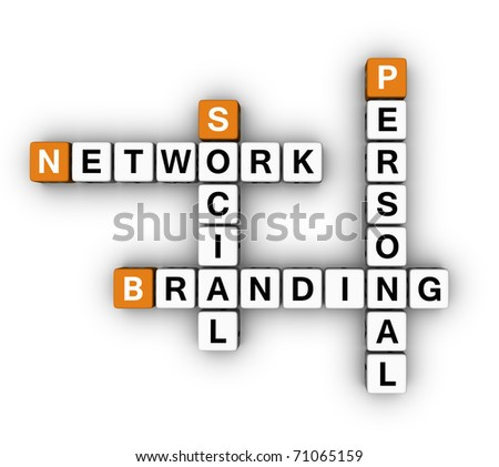 Personal Branding Social Network  (3D crossword orange series) - stock photo