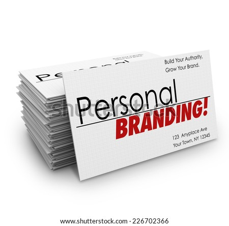 Personal Branding words on business cards to advertise your company's products or services or promote you as an expert in your field - stock photo