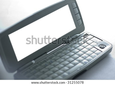 personal business cellphone with path on white background and narrow focus - stock photo