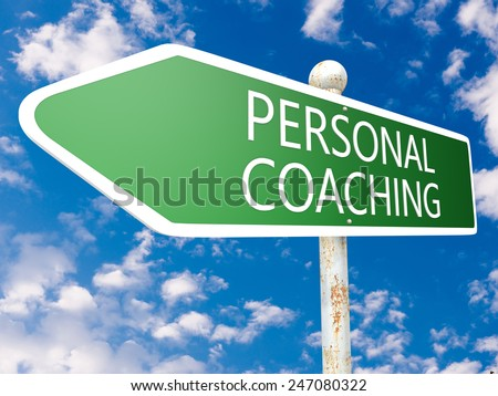 Personal Coaching - street sign illustration in front of blue sky with clouds. - stock photo