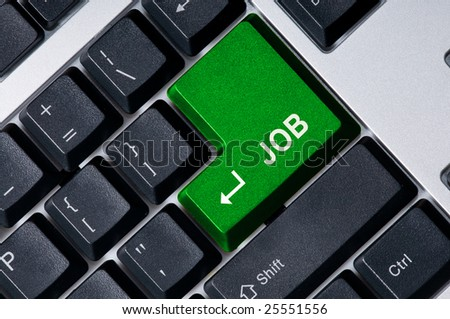 Personal computer keyboard with green key Job