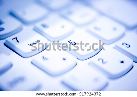 Personal computer pc external keyboad keys in Spanish format keypad isolated photo.