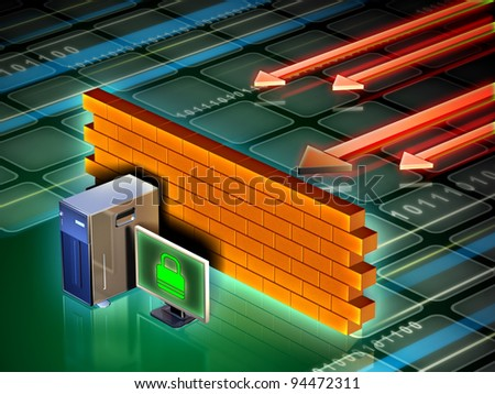 Personal computer protected from external attacks by a brick wall. Digital illustration. - stock photo