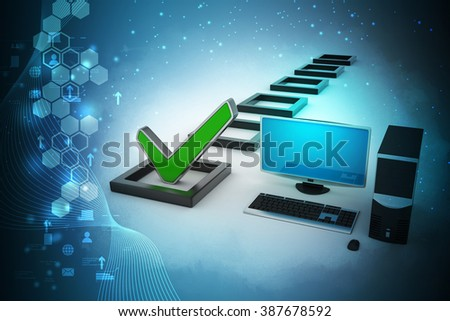 Personal computer with check mark and column in color background - stock photo
