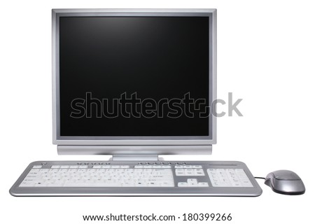 Personal Computer with keyboard and mouse on white background