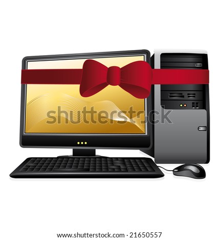 Personal computer with red bow isolated