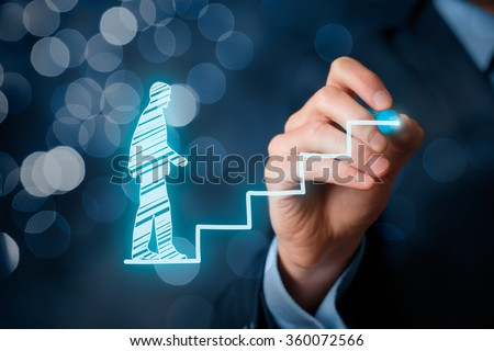 Personal development, career growth, success, progress and potential concepts. Coach (human resources officer, supervisor) help employee with his growth symbolized by stairs, bokeh background.