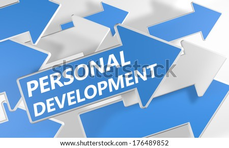 Personal Development 3d render concept with blue and white arrows flying upwards over a white background. - stock photo
