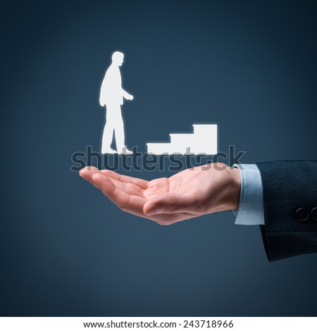 Personal development, personal and career growth, success, progress and potential concepts. Coach (human resources officer, supervisor) and help employee with his growth symbolized by stairs. - stock photo