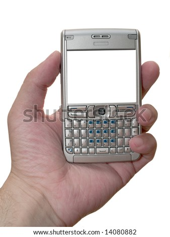 personal digital assistant in the arm with empty frame isolated on white - stock photo
