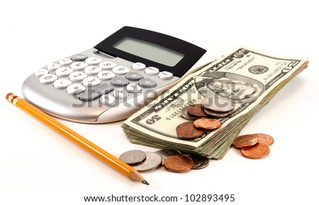 Personal finance and accounting with calculator, money and yellow pencil isolated on white background.