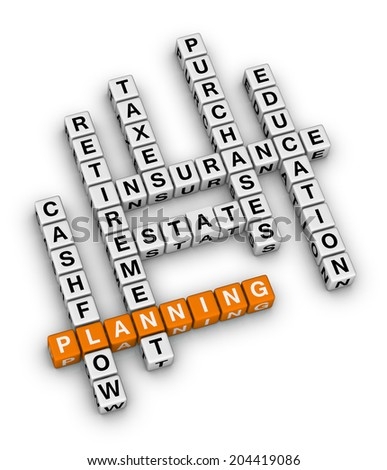 personal financial planning (orange-white crossword puzzles series) - stock photo