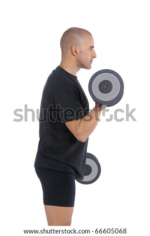 Personal fitness trainer (coach) exercising with dumbbells over white background - stock photo