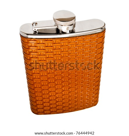 Personal flask in a leather decoration, isolated on white. - stock photo
