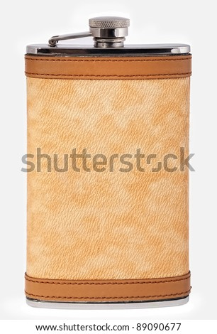 Personal flask in a leather decoration, isolated on white.
