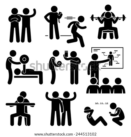 Personal Gym Coach Trainer Instructor Exercise Workout Stick Figure Pictogram Icons - stock photo