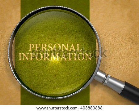 Personal Information Concept through Magnifier on Old Paper with Dark Green Vertical Line Background. 3D Render. - stock photo