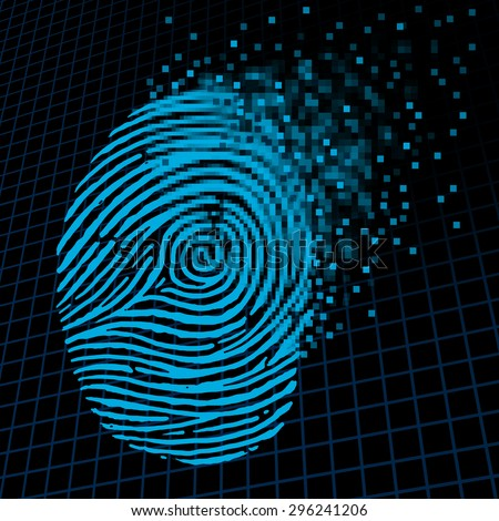 Personal information encryption and private data protection as a digital fingerprint being pixelated into encrypted pixels as a security technology symbol and password protection icon. - stock photo
