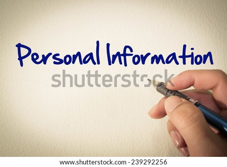 Personal information text write on wall  - stock photo