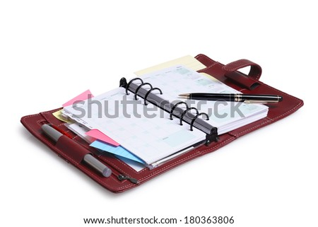 Personal Leather Organizer and Calender on white background - stock photo