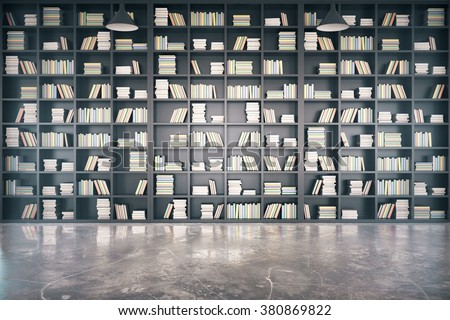 Personal library with big bookcase and concrete floor 3D Render - stock photo