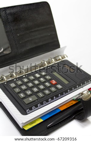 Personal organizer with calculator isolated on white background
