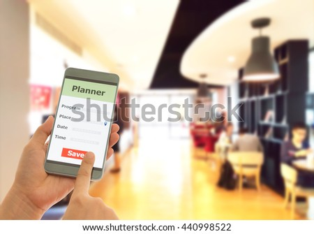 Personal phone calls planner in cafe, appointments, notes, Remind concept. - stock photo