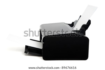 Personal printer isolated on white. Clipping path included. - stock photo
