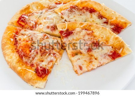 Personal sized sliced cheese pizza.