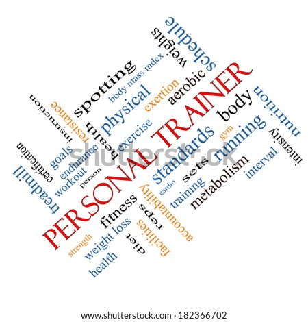 Personal Trainer Word Cloud Concept angled with great terms such as fitness, exercise, aerobic and more. - stock photo