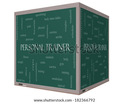 Personal Trainer Word Cloud Concept on a 3D cube Blackboard with great terms such as fitness, exercise, aerobic and more. - stock photo